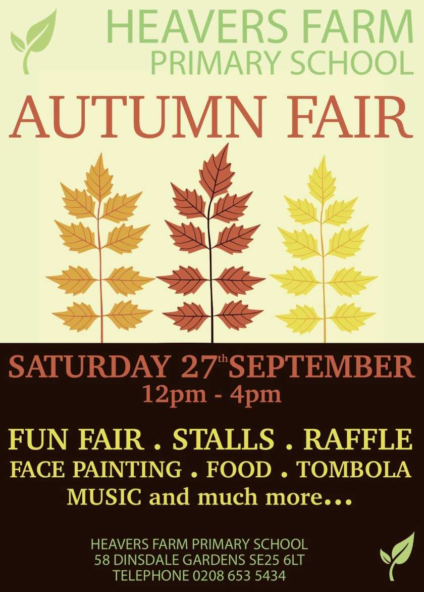 Heavers Farm Autumn Fair poster SEP 2014