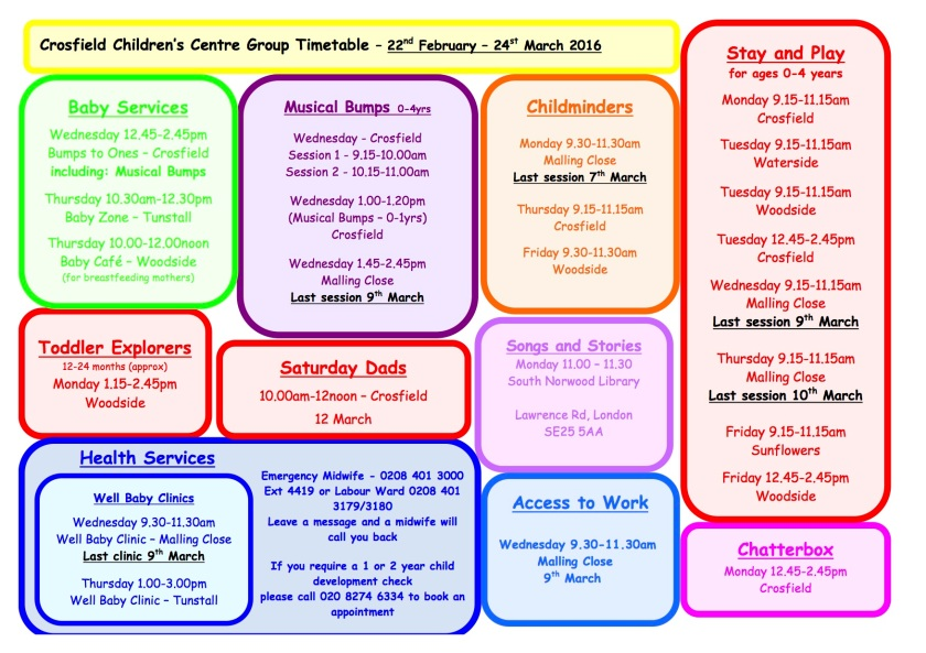 Spring timetable 22 Feb.March