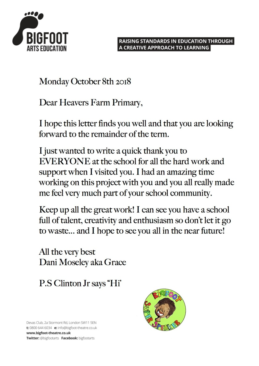 Heavers Farm Thank You Letter
